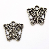 10 Tibetan silver 13mm Butterfly Charms